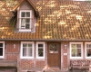 Frontansicht, das Ferienhaus auf dem Barkhof Egestorf in der Lüneburger Heide
